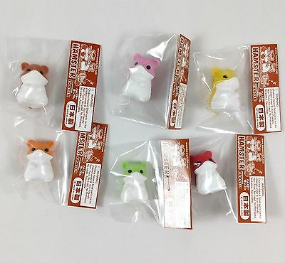 Iwako Japanese Erasers Set of 6 Hamsters Limited Edition Kawaii Colors