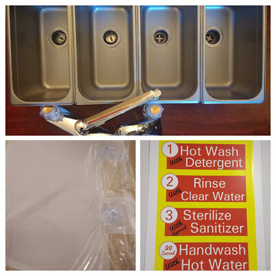 New! Standard 3 Compartment 1/3 Pan Concession Sink Set & 1/3 Pan Hand Wash