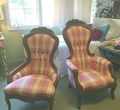 Pair of Victorian Antique Slipper Cherrywood Chairs with Cowtan and Tout Plaid