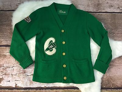 Vintage Retro 70's Letterman Sweater Cardigan Green Marching Band 1978 Tina