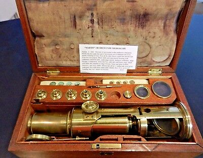 Antique Brass Martin / Drum Microscope ~ fitted wood case