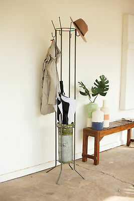 GwG Outlet Metal Coat Rack and Umbrella Stand with Military Canister CQ6858