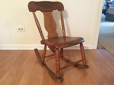 Antique wood sewing nursing rocker low armless chair Victorian Queen Anne style