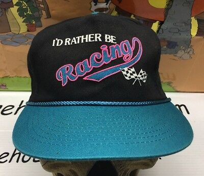 I'D RATHER BE RACING Vintage Checked Flag SnapBack Hat cap Dirt Track Speedway