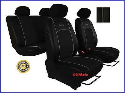 Universal Black Eco-Leather Full Set Car Seat Covers fit Volkswagen Jetta / Fox
