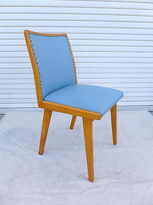 Vintage Blue Leather Side Chair Danish Blonde Dining Chair Mid Century Modern
