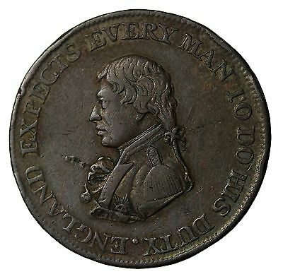 1812 Great Britain Admiral Nelson British Naval Halfpenny Conder Token W-1590