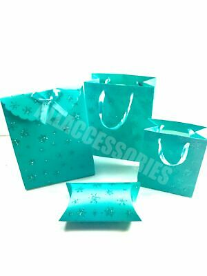 Pack Of 12 Gift Bags Turquoise Glitter Snowflakes With Matching Ribbon Handles