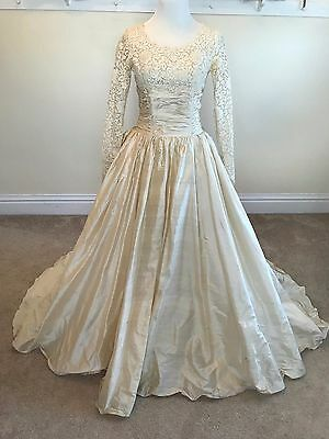 Vintage 1950s Ivory Raw Silk & Lace Wedding Gown Excellent!