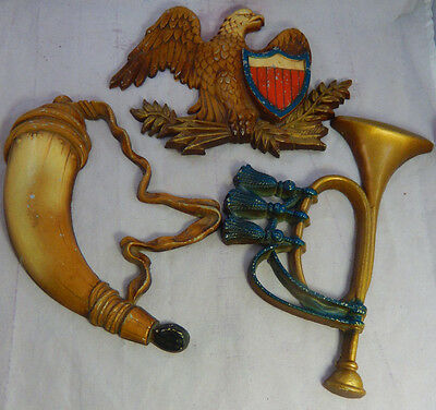 Vintage Sexton Set of 3 Metal Wall Hanging 2 Horns & Bald Eagle #576 Made in USA