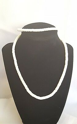 Authentic Hawaiian Puka Shell Heishe Surfer Choker Necklace & Anklet Set