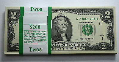 $2 2013 DALLAS Dollar Bill GEM BU UNC,CONSECUTIVE NUMBERS PAPER MONEY PACK OF100