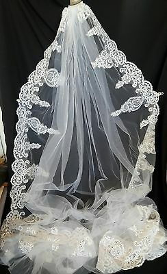 Cathedral Spark Beading Long Wedding Veils Appliques With Comb Bridal Veil White