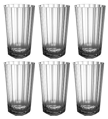 QG 27 oz Acrylic Plastic Iced Tea Cup Heavy Diamond Base Tumbler 6 pc Smoke Grey