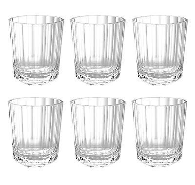 QG 15 oz Acrylic Plastic Rocks Glass Heavy Diamond Base Tumbler Set of 6 Clear
