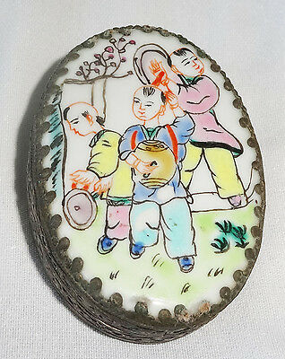 "20CT Chinese oval Silver Box w. Porcelain Top ""Children Motif Famile Rose (Ver)"