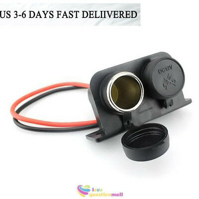 Waterproof 12V Car Motorcycle Cigarette Lighter Plug Outlet Power Dual Socket US