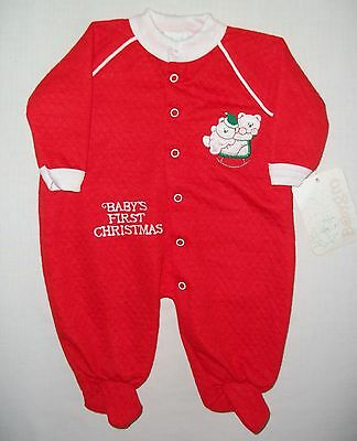 Babys First Christmas Bright Red Sleeper Pajamas Size 3 Months Made in USA