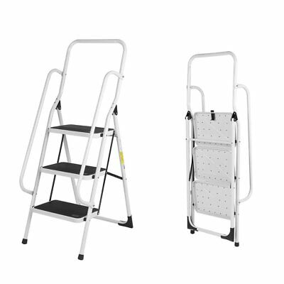 3 Step Ladder With Safety Handrail Non Slip Tread Stepladder New Foldable SA