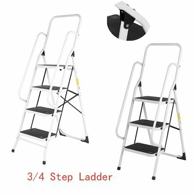 Foldable Non Slip 3 4 Step Steel Ladder tread Stepladder Safety Handrail Rail SA
