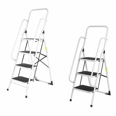 3 4 Step Ladder Steel Non Slip Tread Stepladder Safety Rail Handrail Foldable SA