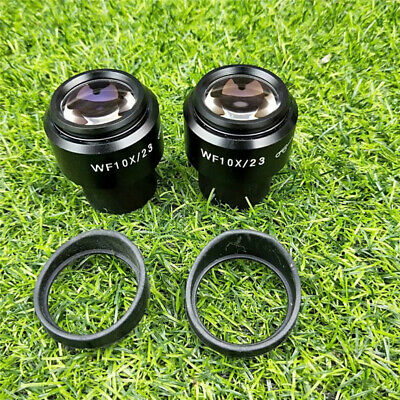 Pair WF10X/23mm Microscope Diopter adjustable Eyepiece W/Eyeguards 30mm Tube