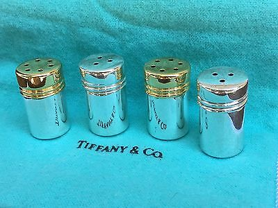 Tiffany & Co 925 Mini Salt and Pepper Shakers Set of 4 with gold tops with case