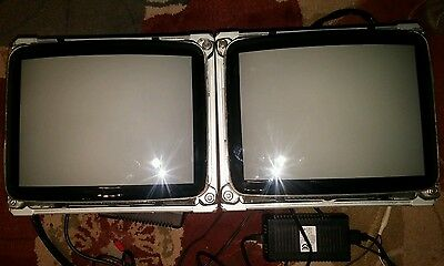 "2 Sony Trinitron DC MOBILE Color Monitors ADM-10B 10"" w/ AC Transformer Tested"
