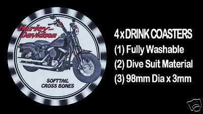 4  x HARLEY DAVIDSON SOFTTAIL CROSS BONES, DRINK COASTERS - Fully Washable