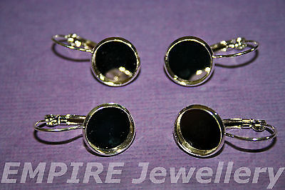 5 Pairs (10) Bright Silver Drop Lever Earring 12x12mm Cameo Setting Cabochon