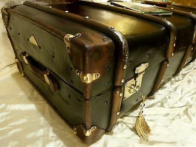 Large Steamer Trunk Chest Brass Lock Studs etc Relined Laura Ashley Interior