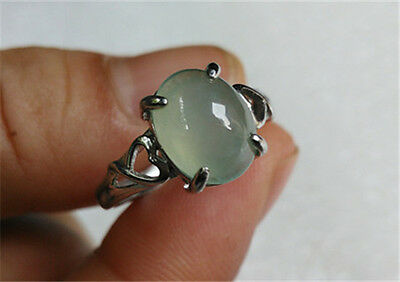 100% Natural ICE Jadeite (GRADE A) 925 Sterling Silver Ring