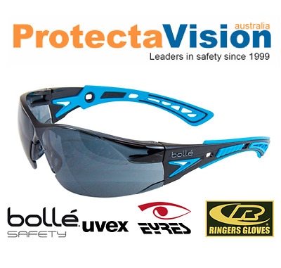 Bolle RUSH PLUS Safety Glasses Blue/Black Frame Smoke Lens Platinum Coating