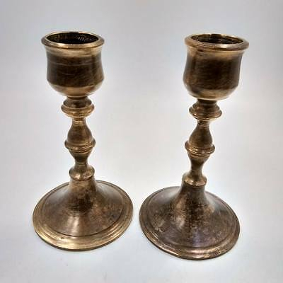 Pair of Small Antique Brass Candlestick Candle Holder Old Vintage