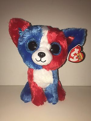 Ty Valor Patriotic Chihuahua Beanie Boos, New, Mint Tag-Htf-Soft-Loves Parades