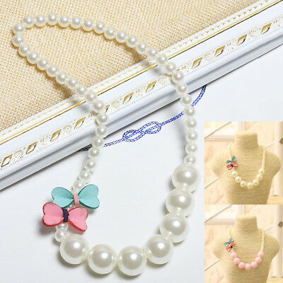 Princess Girls Children Jewelry Pearl Bow-knot Beautiful Cute Necklace New