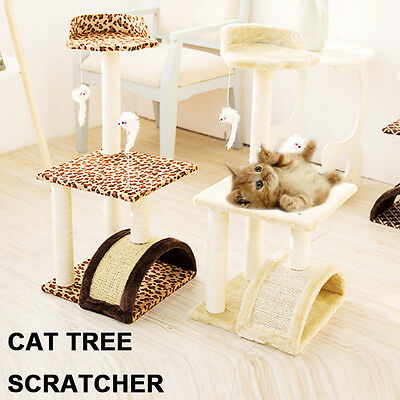 80cm Cat Scratching Post Tree Gym House Scratcher Pole Furniture Multilevel Bed