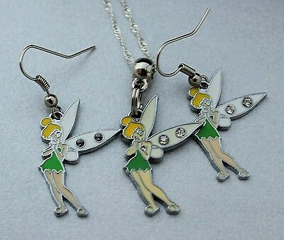 "Gorgeous Girls Peter Pan ""tinkerbell""  Pendant Necklace & Matching Earrings Set!"