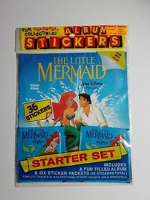 The Little Mermaid Panini Collectible Sticker Starter Set Album/36 Stickers NEW