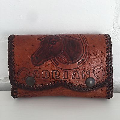 ADRIAN Personalised TOOLED Horse Purse GENUINE LEATHER Vintage