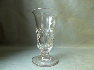 Antique Victorian Facet Cut Jelly Glass on Foot, Knopped Stem, 19C
