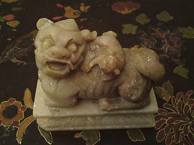 Antique Qing Dynasty Chinese carved soapstone foo dog 獅 & pup on separate base