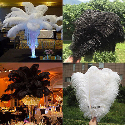 100PCS    OSTRICH FEATHERS 12-14inches/30-35cm wedding  (white black)