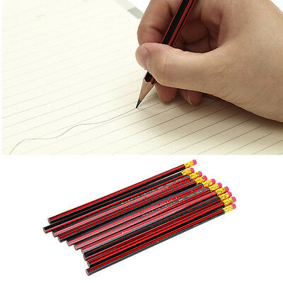 10Pcs HB Pencil Wooden with Eraser Tips Writing Drawing Stationery Blacklead New
