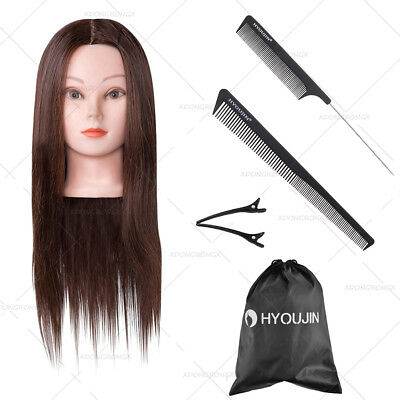 """22"""" Salon Hair Training Head Model Cosmetology Hairdressing With Black Comb Set"""
