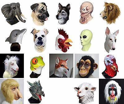 Animal Latex Mask Full Head Overhead Masquerade Dress Up Costume Carnival Mask