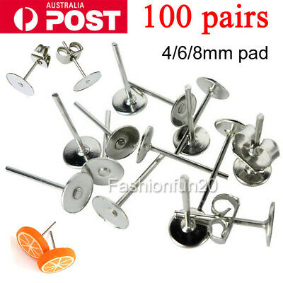 NEW 200PCS Earring Stud Posts 4/6/8mm Pads & Nut Backs Silvery Surgical Steel
