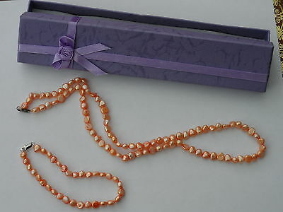 "Beautiful 21""  Peach Fresh Water Pearl Necklace & Bracelet Set Bridal? Boxed"