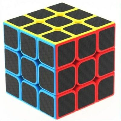 New 3x3x3 Carbon Fiber Puzzle Ultra-smooth Magic Cube Speed Rubik Kids Toy UK