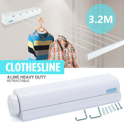"""126"""" Retractable Washing 4 Line Indoor Space Saving Auto Roll Up Clothes Dryer"""